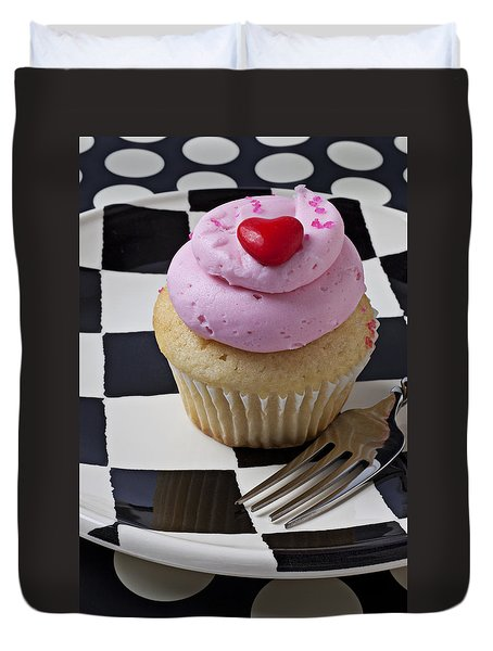 Cupcake With Heart On Checker Plate Duvet Cover by Garry Gay