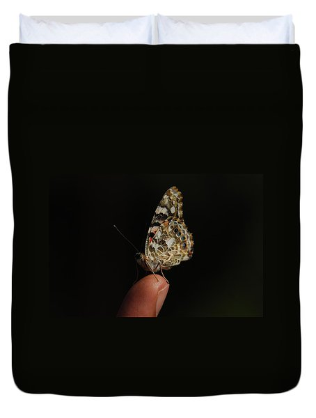 Duvet Cover featuring the photograph Curious Butterfly by Tam Ryan