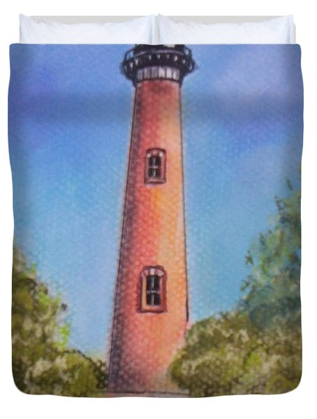 Duvet Cover featuring the pastel Currituck Lighthouse Nc by Julie Brugh Riffey