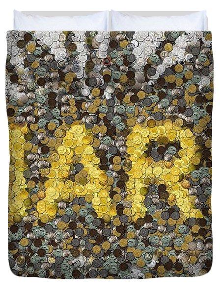 Custom Mark Mosaic Coins Duvet Cover by Paul Van Scott
