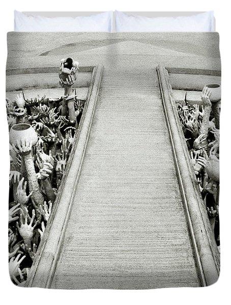 Cycle Of Rebirth At Wat Rong Khun In Thailand Duvet Cover by Shaun Higson
