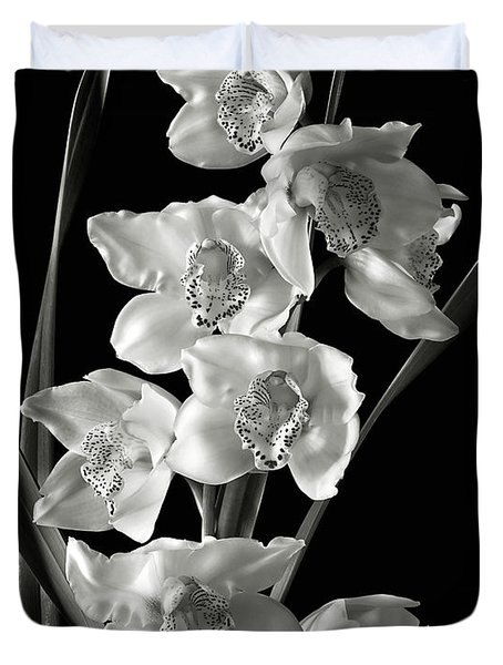 Cymbidium Cluster In Black And White Duvet Cover by Endre Balogh