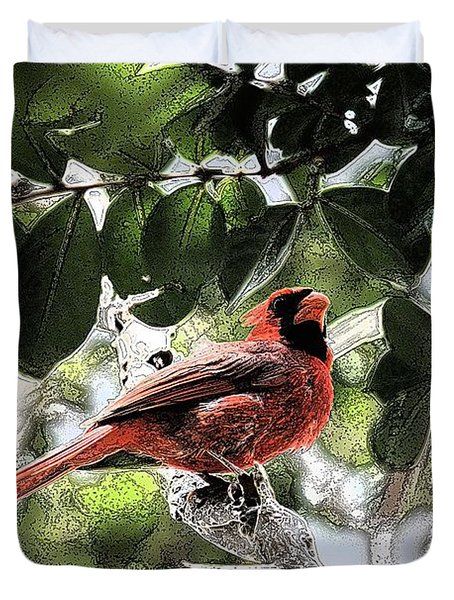 Duvet Cover featuring the photograph Daddy Cardinal by Donna G Smith