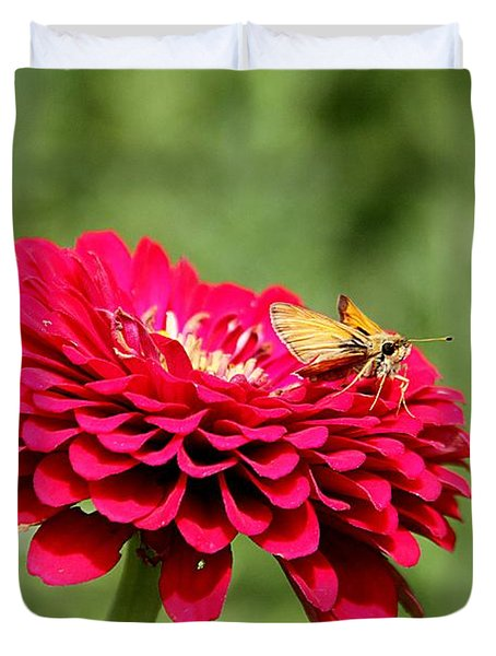 Duvet Cover featuring the photograph Dahlia's Moth by Elizabeth Winter