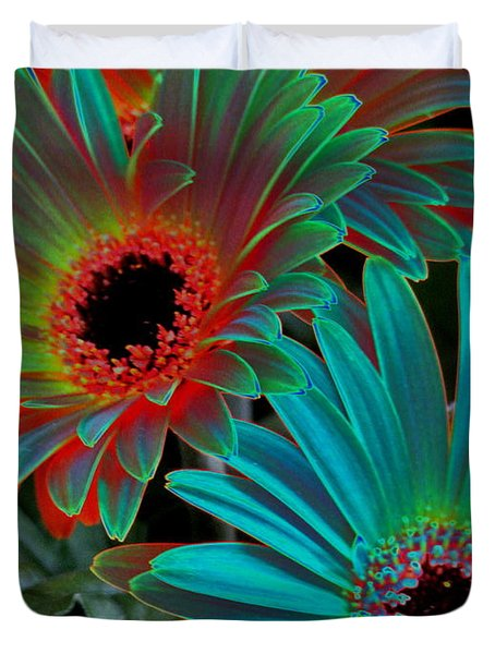 Duvet Cover featuring the photograph Daisies From Another Dimension by Rory Sagner