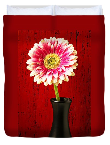 Daisy In Black Vase Duvet Cover by Garry Gay