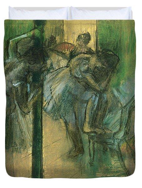 Dancers Rehearsing Duvet Cover by Edgar Degas
