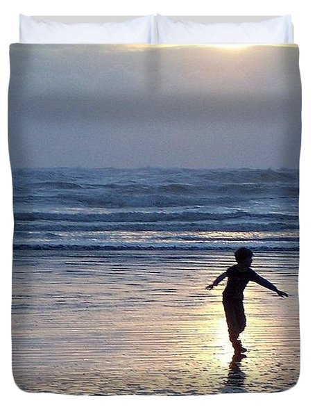 Dancing Boy At Sunset Duvet Cover