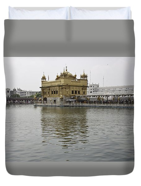 Darbar Sahib And Sarovar Inside The Golden Temple Duvet Cover by Ashish Agarwal