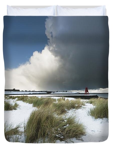 Dark Clouds And Blue Sky Over A Red Duvet Cover by John Short