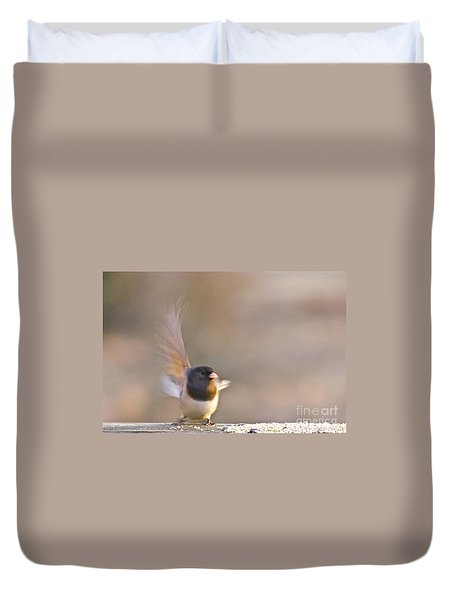 Duvet Cover featuring the photograph Dark-eyed Junco Taking Flight by Sean Griffin