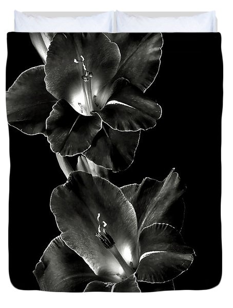 Dark Gladiolas In Black And White Duvet Cover