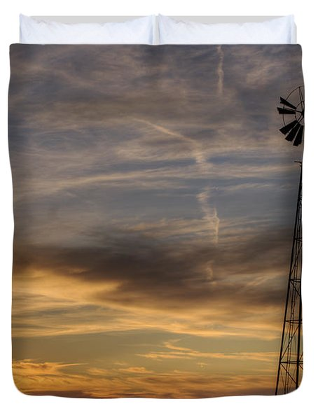 Dark Sunset With Windmill Duvet Cover by Art Whitton