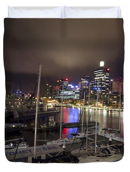 Darling Harbor Sydney Skyline 2 Duvet Cover by Douglas Barnard