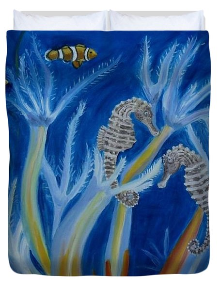Duvet Cover featuring the painting Date Night On The Reef by Julie Brugh Riffey