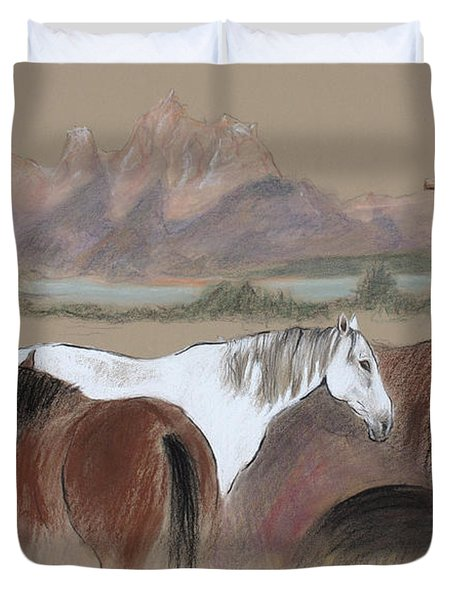 Dawn At Triangle X Corrals Jackson Hole Duvet Cover