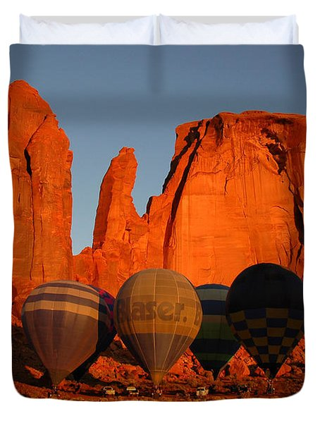 Duvet Cover featuring the photograph Dawn Flight In Monument Valley by Vivian Christopher