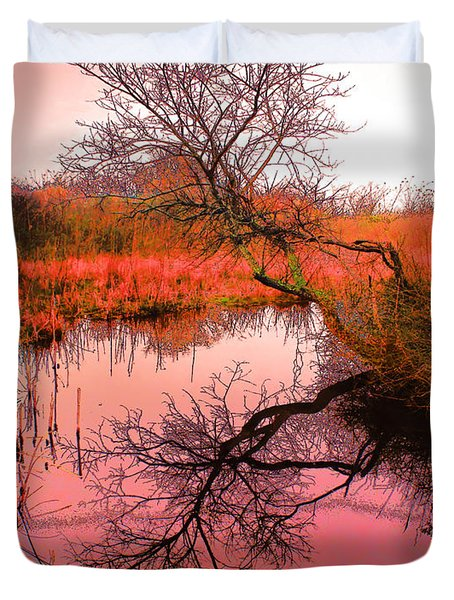 Dawn On The Marsh Duvet Cover by Nick Zelinsky