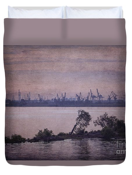 Duvet Cover featuring the photograph Dawn On The River Neva In Russia by Clare Bambers