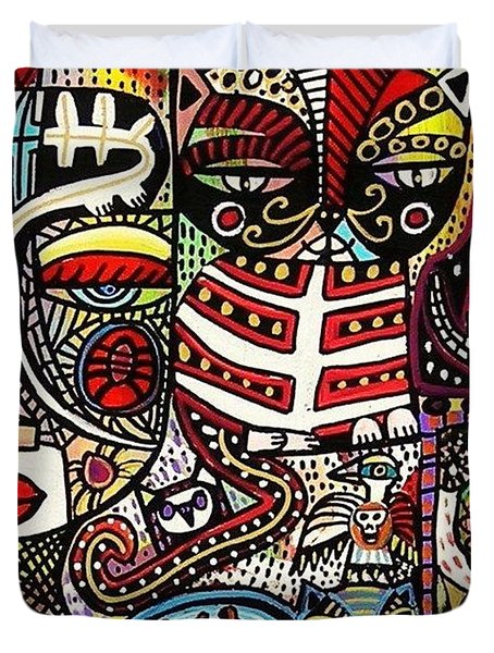 Day Of The Dead Cats Duvet Cover by Sandra Silberzweig