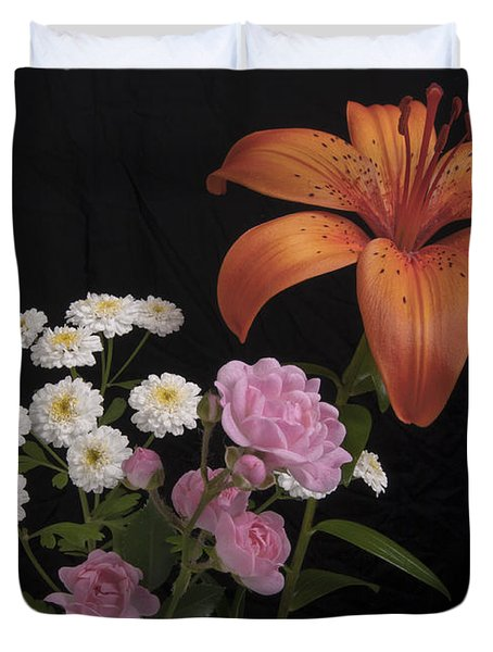 Daylily And Roses Duvet Cover by Michael Peychich