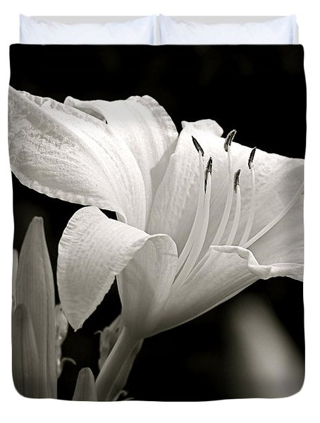 Daylily Study In Bw Iv Duvet Cover