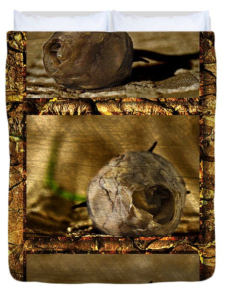 Duvet Cover featuring the photograph Dead Rosebud Triptych by Steve Purnell
