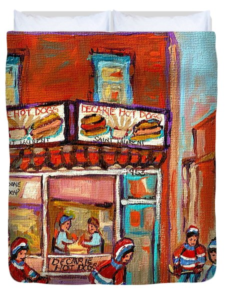 Decarie Hot Dog Montreal Restaurant Paintings Ville St Laurent Streets Of Montreal Paintings Duvet Cover by Carole Spandau