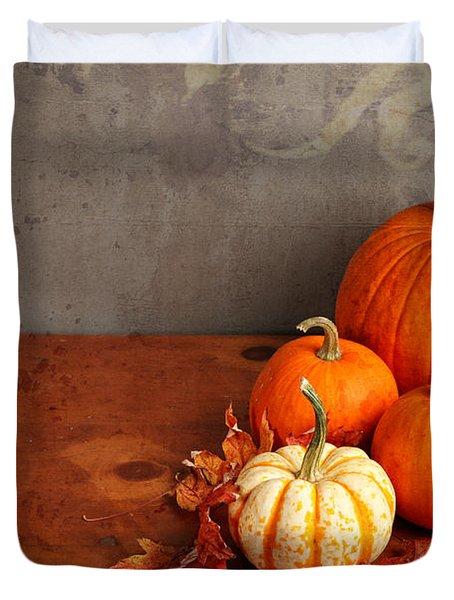 Decorative Fall Pumpkins Duvet Cover by Verena Matthew