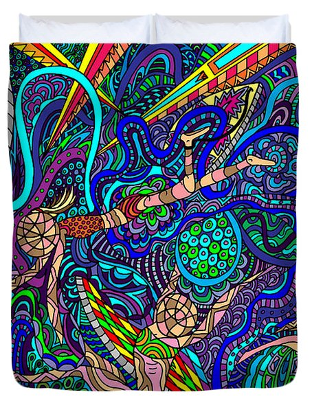 Deep Blue Surfing Duvet Cover by Karen Elzinga
