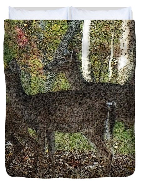 Duvet Cover featuring the photograph Deer In Forest by Lydia Holly