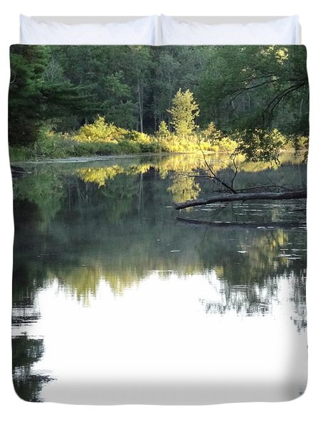 Deer River In Early Sun Duvet Cover