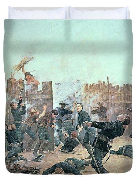 Defending The Fort Duvet Cover by Charles Schreyvogel