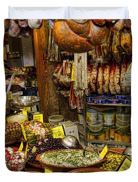 Deli In The Olivar Market In Palma Mallorca Spain Duvet Cover by David Smith
