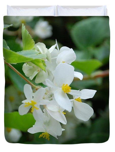 Delicate White Flower Duvet Cover by Jennifer Ancker