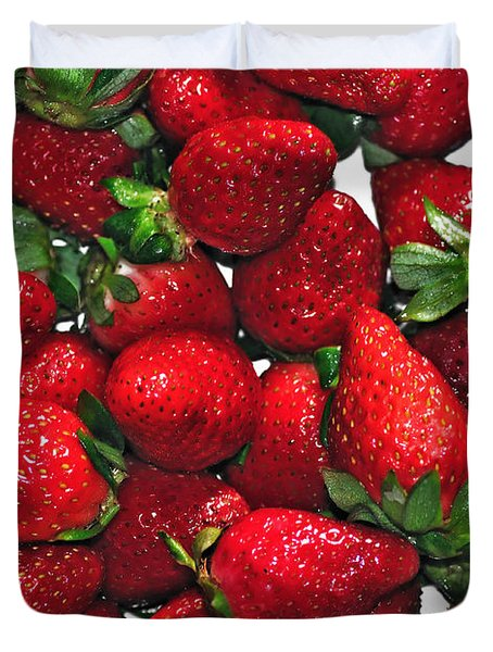 Deliciously Sweet Strawberries Duvet Cover by Kaye Menner