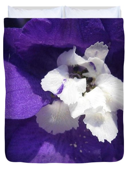 Duvet Cover featuring the photograph Delphinium Named Blue With White Bee by J McCombie