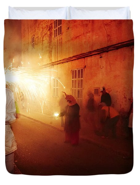 Demons In The Street Duvet Cover