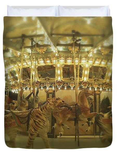 Dentzel Carousel At Glen Echo Park Maryland Duvet Cover
