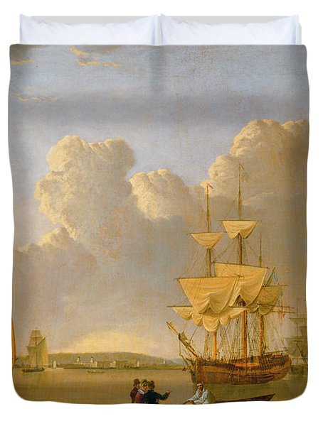 Deptford On Thames With A Distant View Of Greenwich Duvet Cover by John of Hull Ward