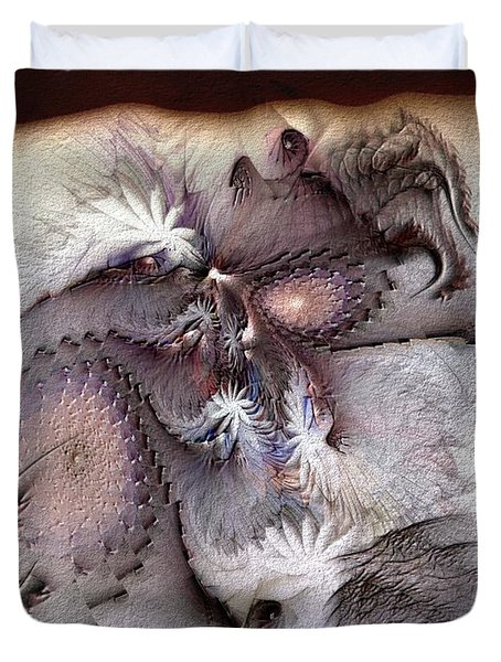 Duvet Cover featuring the digital art Derailing Destiny by Casey Kotas