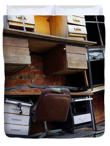 Desk Scrap Duvet Cover by Carlos Caetano