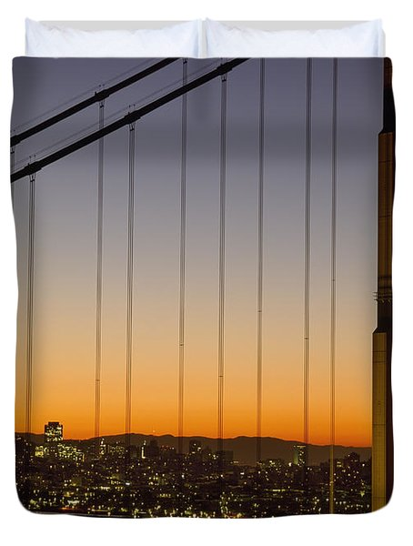 Detail Of The Golden Gate Bridge At Duvet Cover by Axiom Photographic