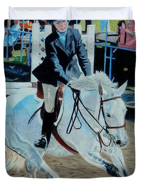 Determination - Horse And Rider - Horseshow Painting Duvet Cover