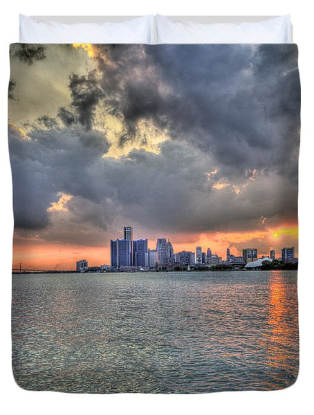 Detroit Sunset  Duvet Cover by Nicholas  Grunas