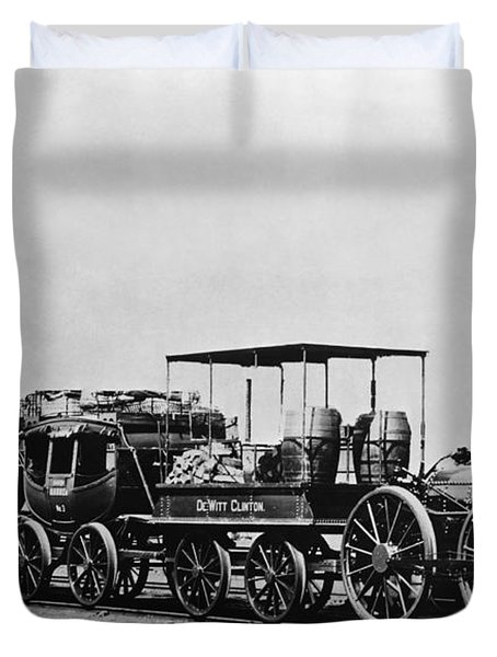 Dewitt Clinton Locomotive And Cars Duvet Cover by Omikron