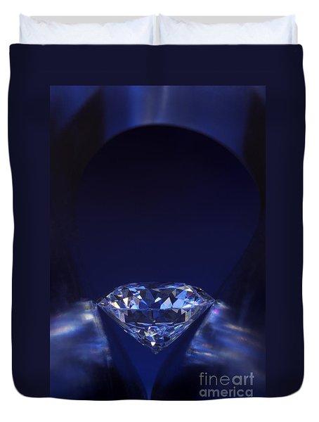 Diamond In Deep-blue Light Duvet Cover by Atiketta Sangasaeng