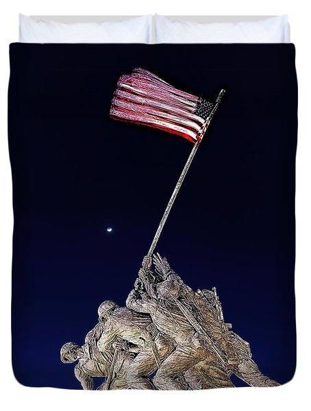 Digital Drawing - Iwo Jima Memorial At Dusk Duvet Cover