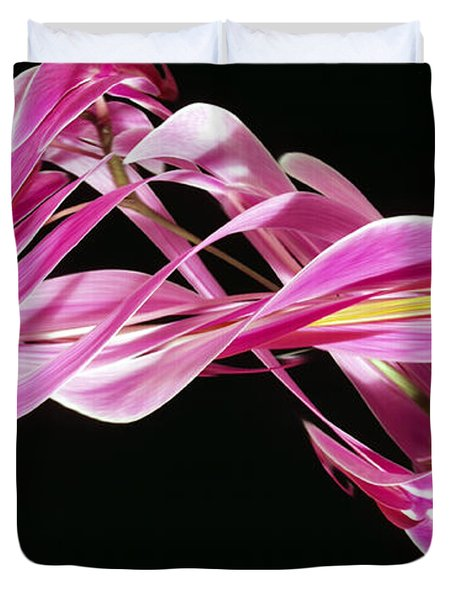 Digital Streak Image Of An Orchid Duvet Cover by Ted Kinsman