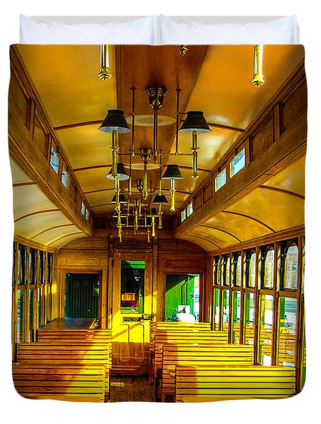 Duvet Cover featuring the photograph Dining Car by Shannon Harrington